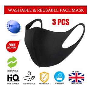 3PCS Reusable Face Mask Anti Breathable Sport Mouth Face Masks Washable UK Stock