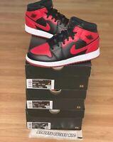 New Nike Air Jordan Retro 1 Mid Black Red Kids Size 4.5-6.5 Sneakers 554725-074