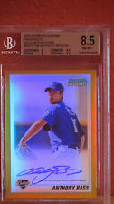 2010 Bowman Chrome Prospects Anthony Bass Gold Refractor Card BGS 8.5 Auto 10
