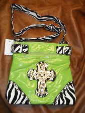 NEW LEATHER LOOK WESTERN THEME PURSE / HANDBAG, BLING/SILVER/DOTS VERY NICE