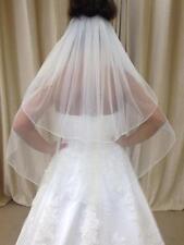 2 Tier Waist Length Bridal Wedding Crystal Veil Pencil Edge Ivory/White