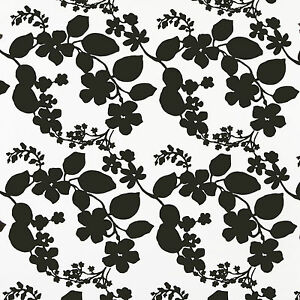 Black & White Floral Contemporary PVC Wipeclean Tablecloth; Rectangle, Round