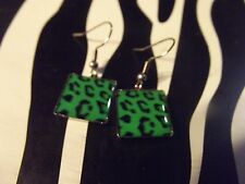Square ~ French Hooks ~ New Unworn Green Leopard Print ~ Stainless Steel ~