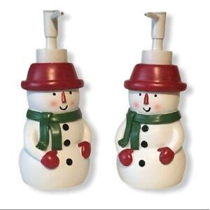 Set of 2 Snowmen Soap Lotion Pump Dispensers NEW Holiday Decor Christmas Bath