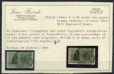 RSI e Luogotenenza 1944 Sass. 21/I Usato 100% Certificato Biondi - Espresso