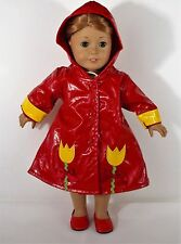 "DOLL RAINCOAT WITH HOOD SHOES  FOR AMERICAN GIRL OR 18 "" DOLLS OUTFIT CLOTHES"