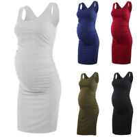 Women Pregnant Maternity Sleeveless Bodycon Summer Party Tunic Casual Midi Dress