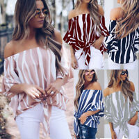 Womens Bardot Dress Off Shoulder Tops Summer Casual T Shirt Blouse Fashion Top