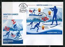 MALDIVES 2018 WINTER OLYMPIC GAMES  PYEONGCHANG SOUVENIR SHEET FIRST DAY COVER