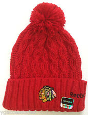 11963ce6e1fb18 NHL Chicago Blackhawks Reebok Womens Cuffed Winter Knit Pom Hat Cap Beanie  NEW!
