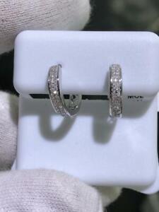 14k White Gold & Genuine Diamonds G/VS1 0.50ct Pave Wide Huggie Hoop Earrings