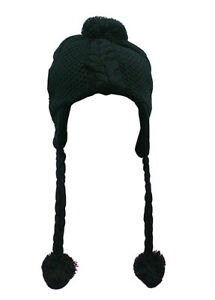 Women/Girls Knitted Hat with Braided Ties and Pom Pom SB1231