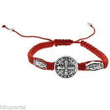 San Benito Medal Saint St Benedict Virgin Mary Red Cord 3 Charm Medalla Bracelet