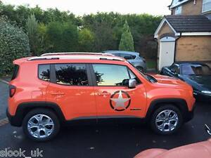 "BLACK Jeep Renegade Star stickers - set of three - distressed look 17""  432mm"
