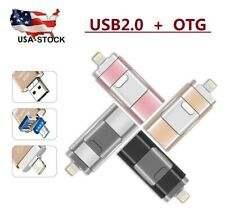 USB Flash Memory Drive 3 in1 Thumb Stick PenDrive For iPhone Android PC 64-512GB