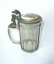 Bierkrug Krug mit Porzellandeckel um 1900