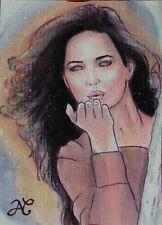 Shiny Original Sketch Card Drawing Portrait Woman Send Love Kiss Long Hair Wind