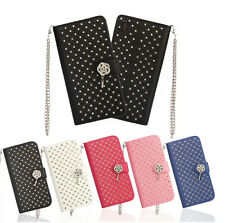 BLING DIAMOND FLIP LEATHER ROSE FLOWER WALLET CREDIT CARD CASE COVER FOR MOBILE
