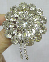 Vintage Jewelry Large Rhinestone Flower Brooch w/ Tails Sparkling Navettes WOW!