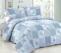 BLUE PATCH Full Queen QUILT SET : COTTAGE ROMANTIC COUNTRY WHITE FLORAL GARDEN