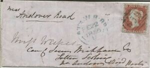 GB QV 1856 COVER PENNY RED STAR 'SG' TO ANDOVER ROAD DATED 22ND FEBRUARY 1856