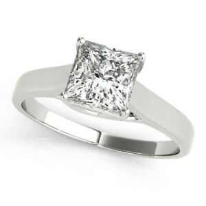 Princess Cut Diamond Valentine's Special Ring Solid White Gold 1.00 Ct