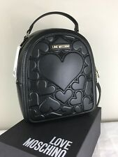 Love Moschino Black Heart Embossed Backpack BRAND NEW Authentic