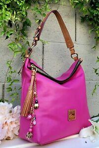 DOONEY & BOURKE McKENZIE LARGE HOBO BAG fuschia pink leather purse shoulder bag