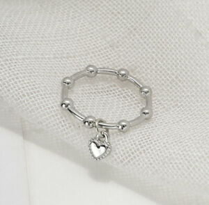 Heart Dangle Charm Fashion Finger Ring With Bead Women Antique Silver Tone Size7