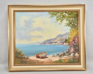f95r38- Gemälde, Meeresküste mit Booten, signiert