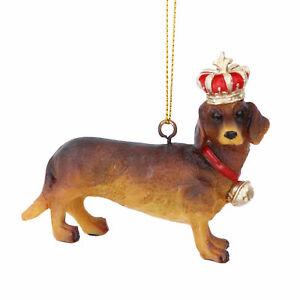 Beautiful Gisela Graham Hanging Decoration Dachshund Sausage Dog with Gold Crown