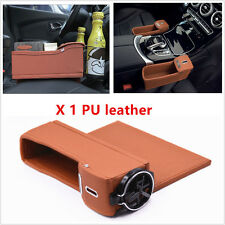 PU Leather Car Console Side Seat Gap Catcher Coin Organizer and Cup Holder Brown