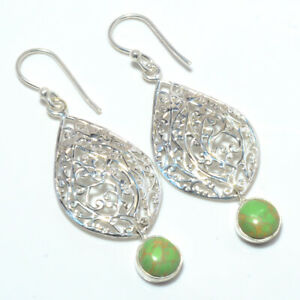 "Wire Work Copper Green Turquoise 925 Sterling Silver Earring 2.15"" F2675"