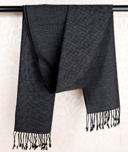 100% Silk brushed nap Scarf men Women Shawl Wrap Plaids Checks black gray QS70-1