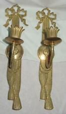 New ListingPair of Vintage Brass Candle Wall Sconces, Bow Tie & Tassel, Andrea by Sadek