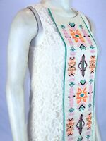 Spense Ivory Cream Embroidered Lace Shift Dress Womens Size 4 Small Petite