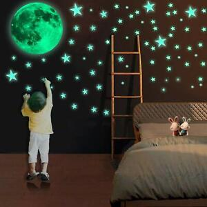 Glow in The Dark Stars and Moon Wall Stickers for Baby Room, Luminous Wall...