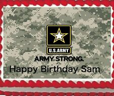 Army Birthday Party Icing Image Cake Topper 1/4 sheet