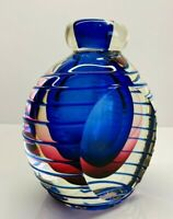 "Vintage Heavy Hand Blown Murano Sommerso Art Glass Perfume Bottle 5"" Tall"