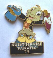 VERY RARE Disney Pin Badge Pinocchio Jiminy Cricket Guest Service Fanatic 75