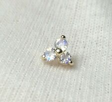 Dermal Anchor Top 14K Solid Gold 5mm 16g With Moonstone Natural Best Quality 2mm