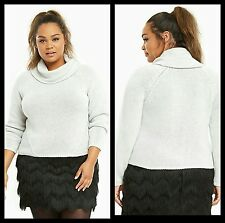 NWT Torrid Women's 0 0X Large Soft Grey Cropped Cowl Neck Sweater (QQ20)