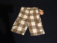 NWT OCEAN PACIFIC (OP) Boys Hybrid Shorts Gray Plaid Cargo Trunks Wet/Dry Sz-10*