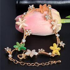 Bohemia Gold Plated Multi-Color Acrylic Austrian Crystal Flowers Chain Bracelet