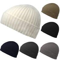 Warm Knitted Woolly Winter Ladies Fleece Black Fishermans Beanie Mens Grey Hat