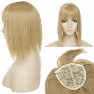 Short Topper Hair Piece Full Head Clip IN Hair Extensions Real Natural Bang SNDW