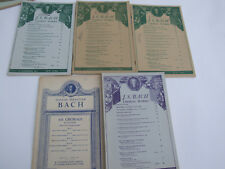 5 MUSIC SHEETS J.S. BACH CHORAL WORKS BOOKS VOCAL FAMOUS FAVORITE VINTAGE RARE