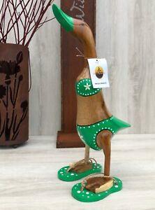 Dekofigur, Holzente, Große Ente mit Flip- Flops im tollen Bikini- Outfit