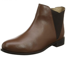 Evans Alona Womens UK 7 EEE Extra Wide Brown Leather Zip Up New Ankle Boots
