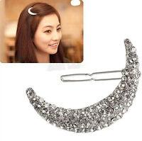 Womens Cute Beauty Crystal Moon Rhinestone Headwear Hairpin Hair Clip Jewelry TR
